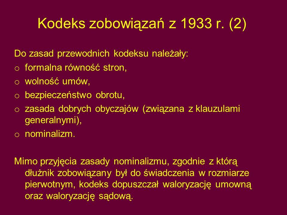 Kodeks zobowiązań z 1933 r.
