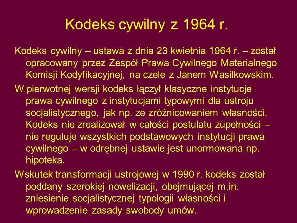 Kodeks cywilny z 1964 r.Kodeks cywilny – ustawa z dnia 23 kwietnia 1964 r.