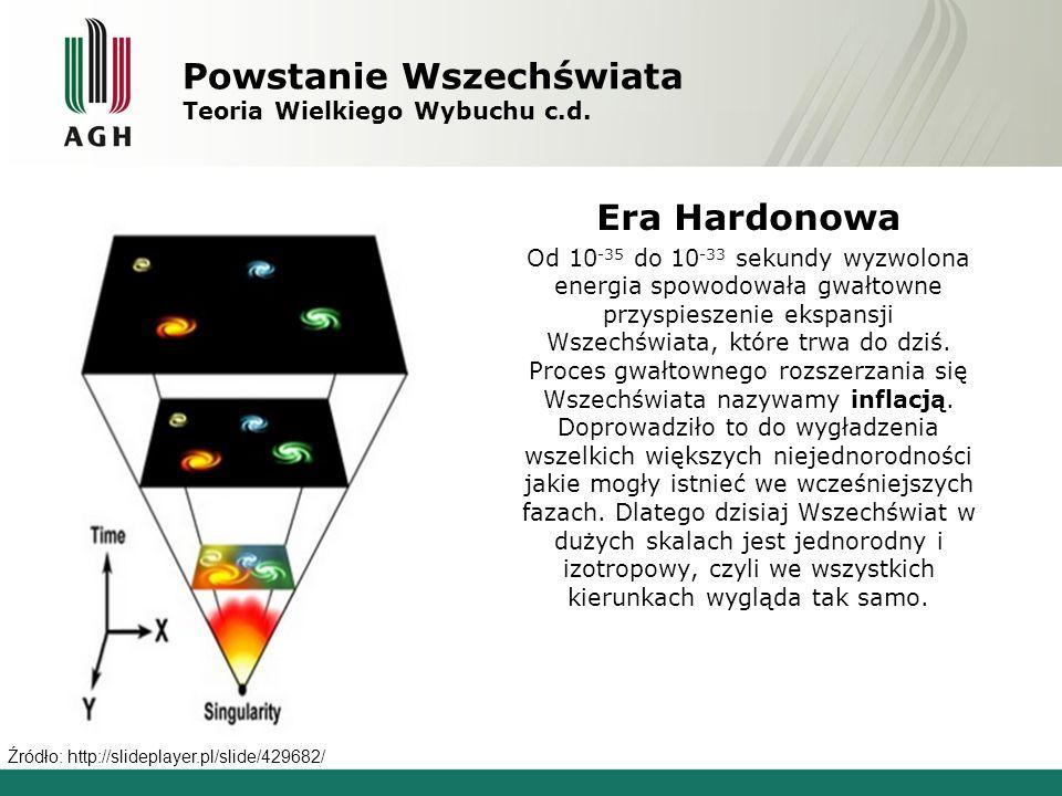 Powstanie Wszechświata Teoria Wielkiego Wybuchu c.d. Era Hardonowa Od 10 -35 do 10 -33 sekundy wyzwolona energia spowodowała gwałtowne przyspieszenie