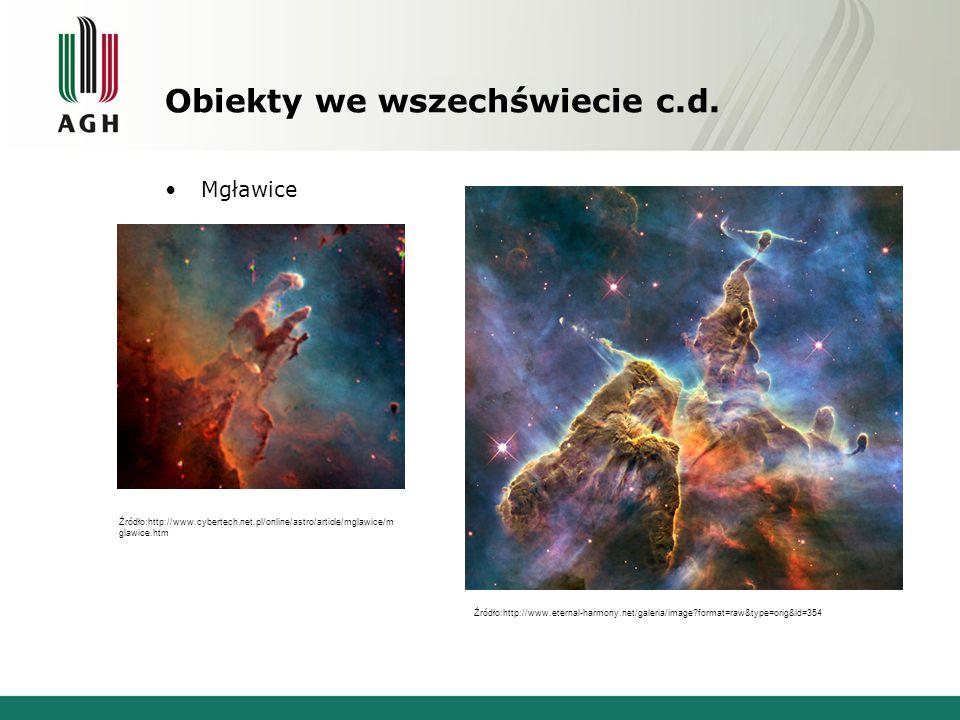 Obiekty we wszechświecie c.d. Mgławice Źródło:http://www.cybertech.net.pl/online/astro/article/mglawice/m glawice.htm Źródło:http://www.eternal-harmon