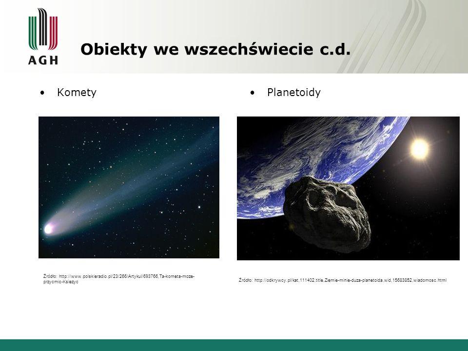 Obiekty we wszechświecie c.d. KometyPlanetoidy Źródło: http://www.polskieradio.pl/23/266/Artykul/693766,Ta-kometa-moze- przycmic-Ksiezyc Źródło: http: