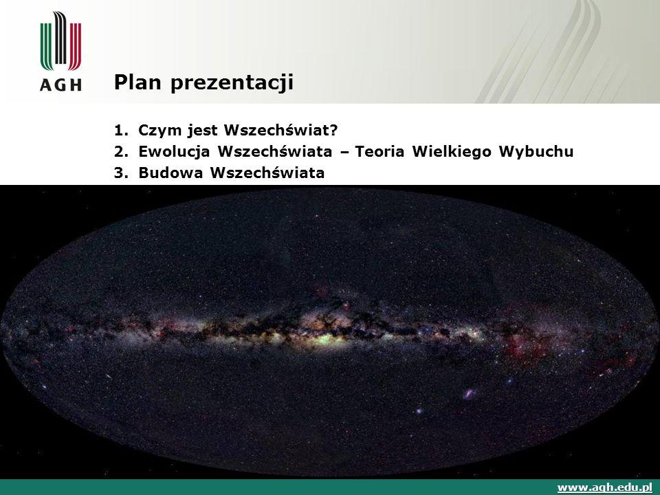Plan prezentacji 1.Czym jest Wszechświat? 2.Ewolucja Wszechświata – Teoria Wielkiego Wybuchu 3.Budowa Wszechświata www.agh.edu.pl