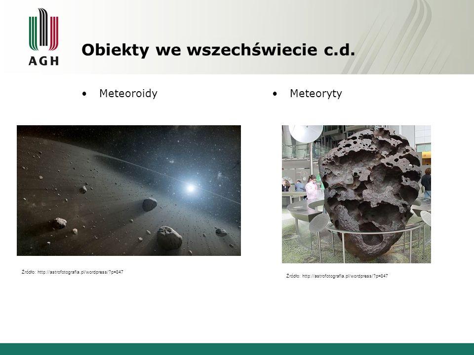 Obiekty we wszechświecie c.d. MeteoroidyMeteoryty Źródło: http://astrofotografia.pl/wordpress/?p=847