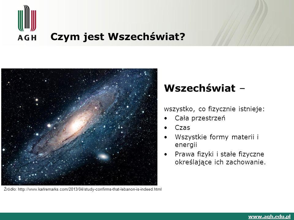Czym jest Wszechświat? Wszechświat – wszystko, co fizycznie istnieje: Cała przestrzeń Czas Wszystkie formy materii i energii Prawa fizyki i stałe fizy