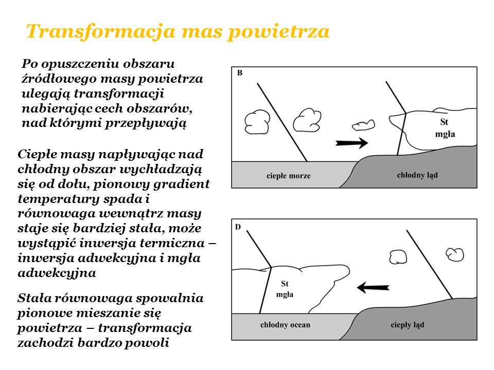 Transformacja mas powietrza Po opuszczeniu obszaru źródłowego masy powietrza ulegają transformacji nabierając cech obszarów, nad którymi przepływają C