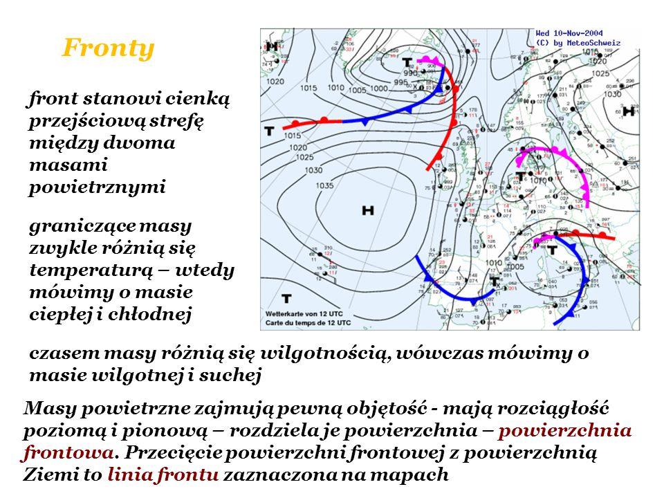 Fronty front stanowi cienką przejściową strefę między dwoma masami powietrznymi graniczące masy zwykle różnią się temperaturą – wtedy mówimy o masie c