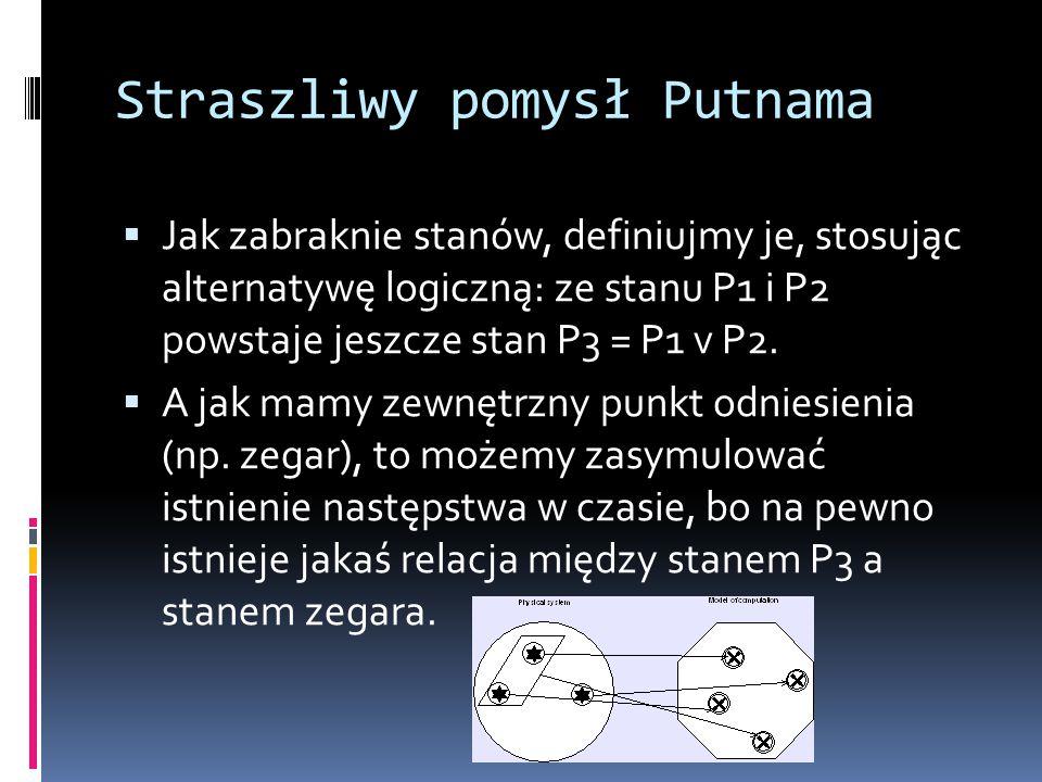 Straszliwy pomysł Putnama  Jak zabraknie stanów, definiujmy je, stosując alternatywę logiczną: ze stanu P1 i P2 powstaje jeszcze stan P3 = P1 v P2. 