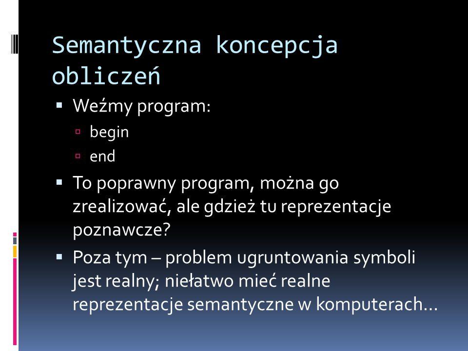 Semantyczna koncepcja obliczeń  Weźmy program:  begin  end  To poprawny program, można go zrealizować, ale gdzież tu reprezentacje poznawcze?  Po