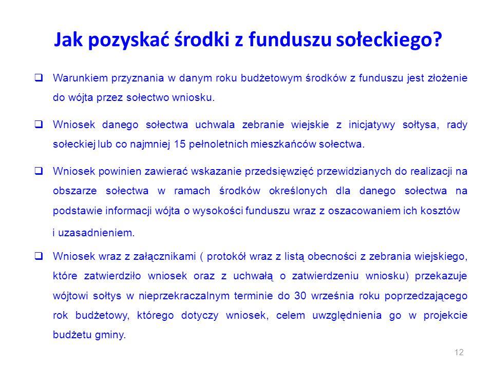 Jak pozyskać środki z funduszu sołeckiego?  Warunkiem przyznania w danym roku budżetowym środków z funduszu jest złożenie do wójta przez sołectwo wni