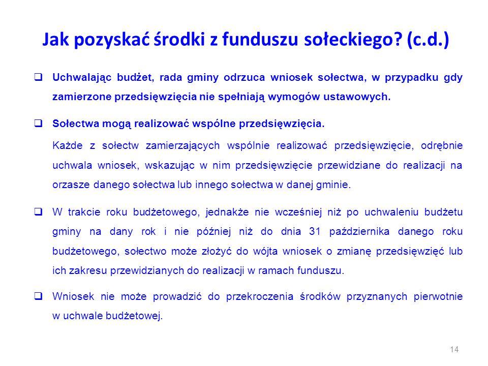 Jak pozyskać środki z funduszu sołeckiego? (c.d.)  Uchwalając budżet, rada gminy odrzuca wniosek sołectwa, w przypadku gdy zamierzone przedsięwzięcia