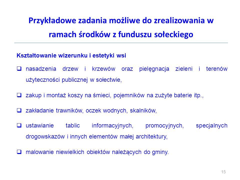 Przykładowe zadania możliwe do zrealizowania w ramach środków z funduszu sołeckiego Kształtowanie wizerunku i estetyki wsi  nasadzenia drzew i krzewó