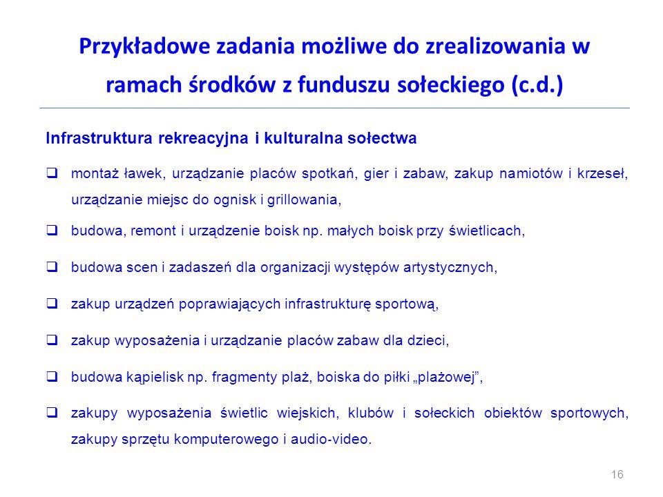 Przykładowe zadania możliwe do zrealizowania w ramach środków z funduszu sołeckiego (c.d.) Infrastruktura rekreacyjna i kulturalna sołectwa  montaż ł