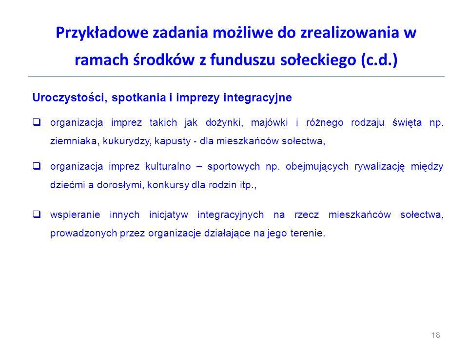 Przykładowe zadania możliwe do zrealizowania w ramach środków z funduszu sołeckiego (c.d.) Uroczystości, spotkania i imprezy integracyjne  organizacj