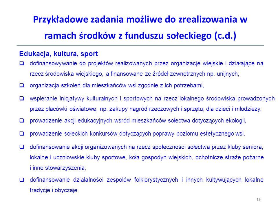Przykładowe zadania możliwe do zrealizowania w ramach środków z funduszu sołeckiego (c.d.) Edukacja, kultura, sport  dofinansowywanie do projektów re