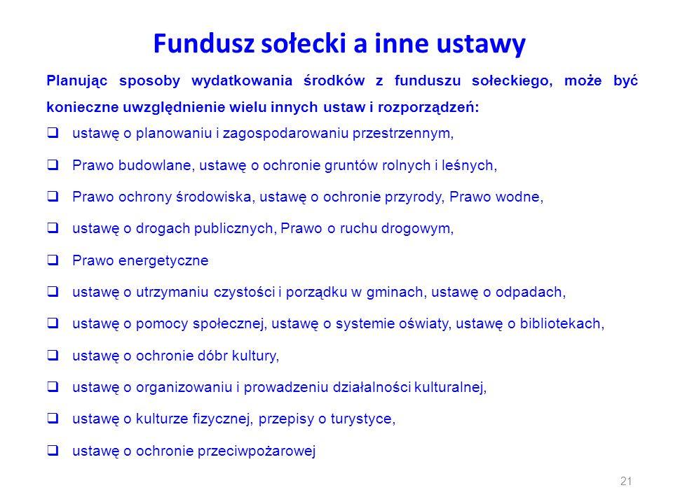Fundusz sołecki a inne ustawy Planując sposoby wydatkowania środków z funduszu sołeckiego, może być konieczne uwzględnienie wielu innych ustaw i rozpo