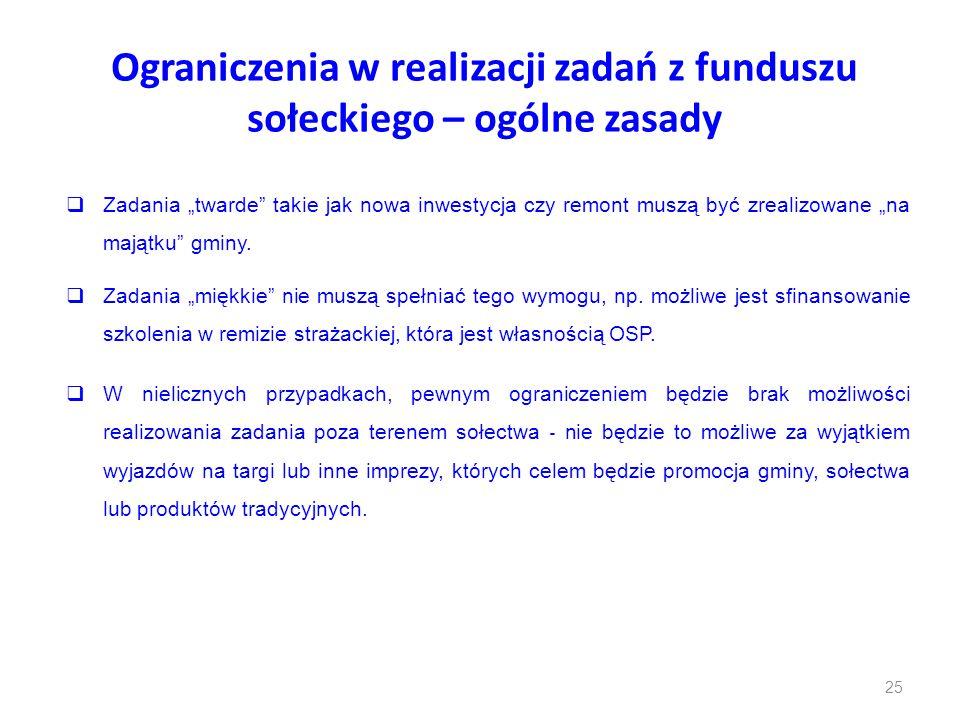 """Ograniczenia w realizacji zadań z funduszu sołeckiego – ogólne zasady  Zadania """"twarde"""" takie jak nowa inwestycja czy remont muszą być zrealizowane """""""
