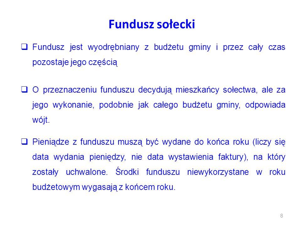 Fundusz sołecki  Fundusz jest wyodrębniany z budżetu gminy i przez cały czas pozostaje jego częścią  O przeznaczeniu funduszu decydują mieszkańcy so