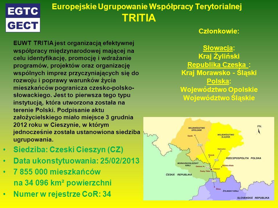 Europejskie Ugrupowanie Współpracy Terytorialnej TRITIA EUWT TRITIA jest organizacją efektywnej współpracy międzynarodowej mającej na celu identyfikację, promocję i wdrażanie programów, projektów oraz organizację wspólnych imprez przyczyniających się do rozwoju i poprawy warunków życia mieszkańców pogranicza czesko-polsko- słowackiego.