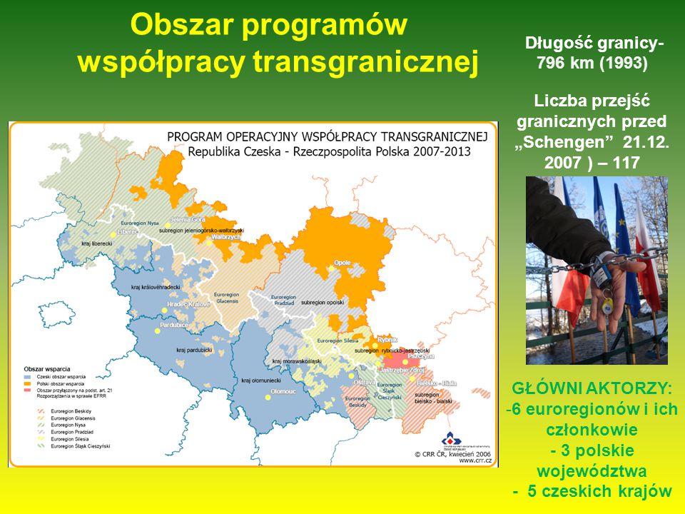 """Obszar programów współpracy transgranicznej Długość granicy- 796 km (1993) Liczba przejść granicznych przed """"Schengen 21.12."""
