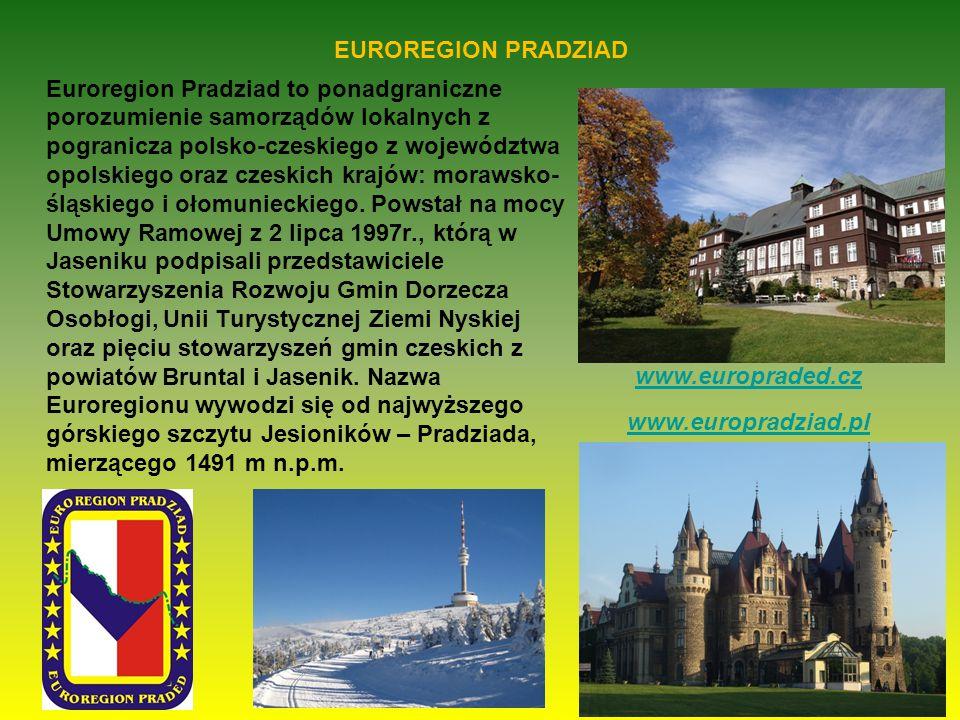 EUROREGION PRADZIAD Euroregion Pradziad to ponadgraniczne porozumienie samorządów lokalnych z pogranicza polsko-czeskiego z województwa opolskiego oraz czeskich krajów: morawsko- śląskiego i ołomunieckiego.