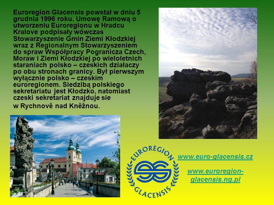 Euroregion Glacensis powstał w dniu 5 grudnia 1996 roku. Umowę Ramową o utworzeniu Euroregionu w Hradcu Kralove podpisały wówczas Stowarzyszenie Gmin