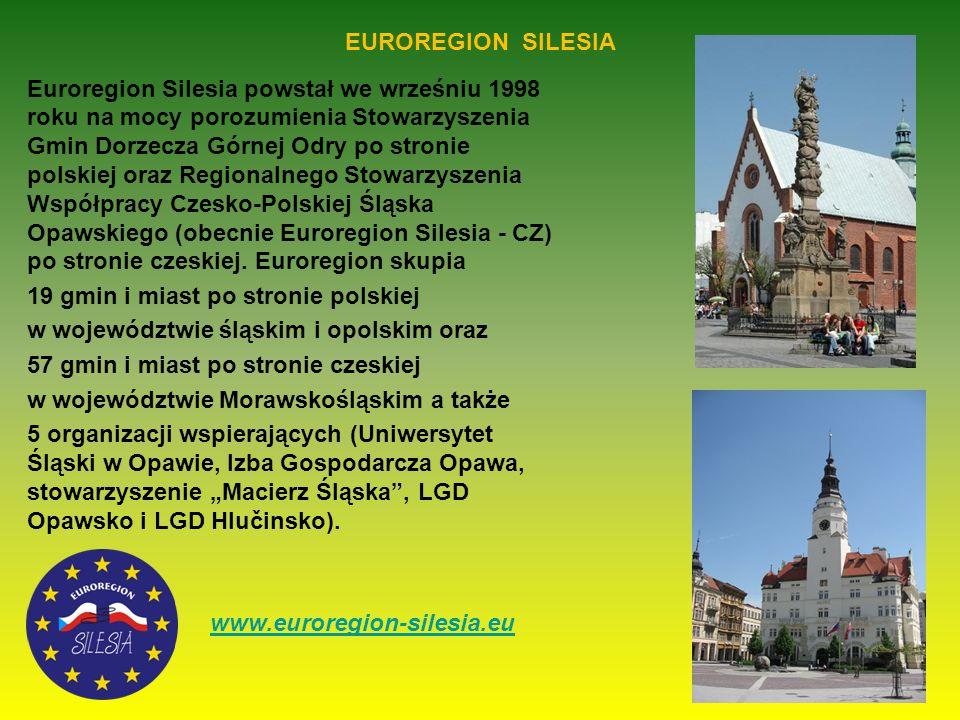 EUROREGION SILESIA Euroregion Silesia powstał we wrześniu 1998 roku na mocy porozumienia Stowarzyszenia Gmin Dorzecza Górnej Odry po stronie polskiej oraz Regionalnego Stowarzyszenia Współpracy Czesko-Polskiej Śląska Opawskiego (obecnie Euroregion Silesia - CZ) po stronie czeskiej.