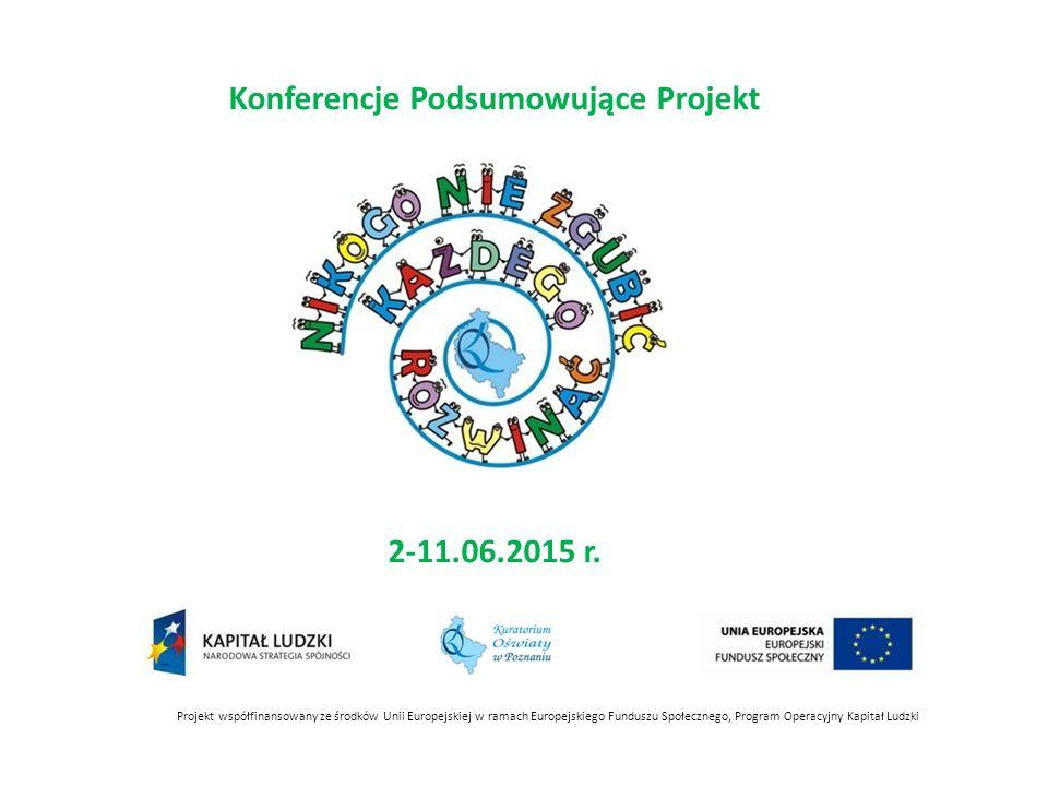 Projekt współfinansowany ze środków Unii Europejskiej w ramach Europejskiego Funduszu Społecznego, Program Operacyjny Kapitał Ludzki Konferencje Podsumowujące Projekt 2-11.06.2015 r.
