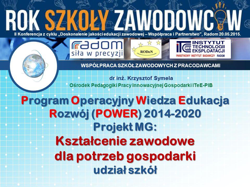 Program Operacyjny Wiedza Edukacja Rozwój (POWER) 2014-2020 Projekt MG: Kszta ł cenie zawodowe dla potrzeb gospodarki udzia ł szkó ł WSPÓŁPRACA SZKÓŁ ZAWODOWYCH Z PRACODAWCAMI dr inż.