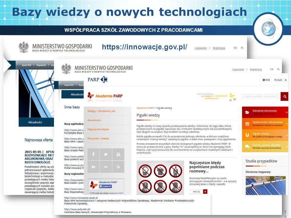 Bazy wiedzy o nowych technologiach 15 WSPÓŁPRACA SZKÓŁ ZAWODOWYCH Z PRACODAWCAMI https://innowacje.gov.pl/