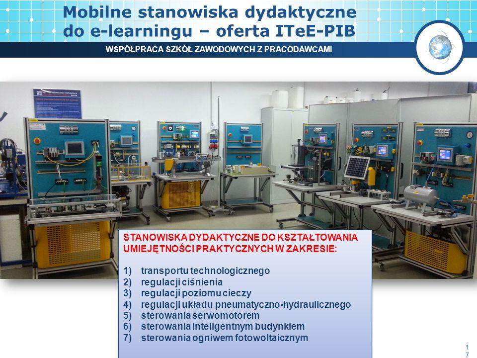 Mobilne stanowiska dydaktyczne do e-learningu – oferta ITeE-PIB STANOWISKA DYDAKTYCZNE DO KSZTAŁTOWANIA UMIEJĘTNOŚCI PRAKTYCZNYCH W ZAKRESIE: 1)transportu technologicznego 2)regulacji ciśnienia 3)regulacji poziomu cieczy 4)regulacji układu pneumatyczno-hydraulicznego 5)sterowania serwomotorem 6)sterowania inteligentnym budynkiem 7)sterowania ogniwem fotowoltaicznym STANOWISKA DYDAKTYCZNE DO KSZTAŁTOWANIA UMIEJĘTNOŚCI PRAKTYCZNYCH W ZAKRESIE: 1)transportu technologicznego 2)regulacji ciśnienia 3)regulacji poziomu cieczy 4)regulacji układu pneumatyczno-hydraulicznego 5)sterowania serwomotorem 6)sterowania inteligentnym budynkiem 7)sterowania ogniwem fotowoltaicznym 17 WSPÓŁPRACA SZKÓŁ ZAWODOWYCH Z PRACODAWCAMI