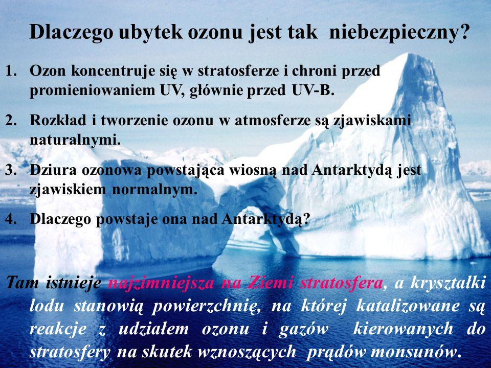 Dlaczego ubytek ozonu jest tak niebezpieczny? 1.Ozon koncentruje się w stratosferze i chroni przed promieniowaniem UV, głównie przed UV-B. 2.Rozkład i