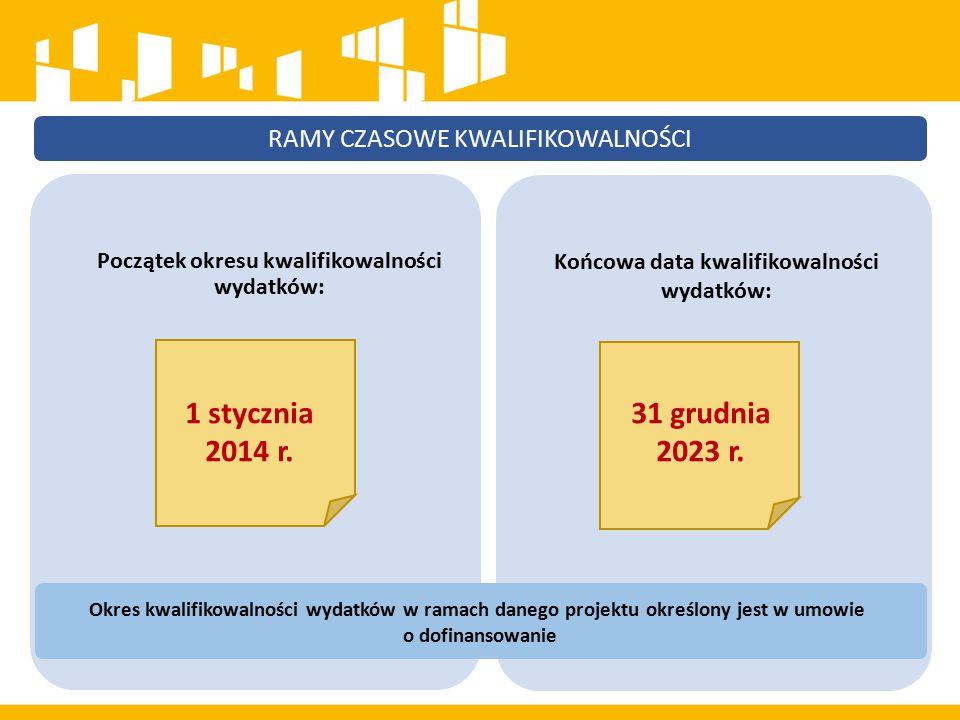 Początek okresu kwalifikowalności wydatków: 1 stycznia 2014 r. 31 grudnia 2023 r. Końcowa data kwalifikowalności wydatków: RAMY CZASOWE KWALIFIKOWALNO