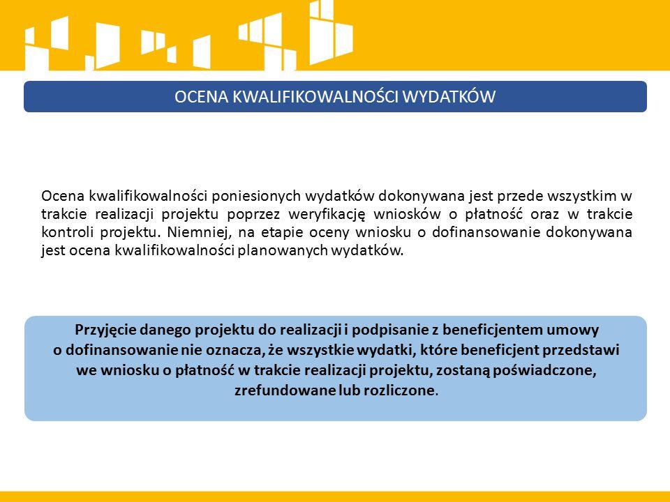 Wydatkiem kwalifikowalnym jest wydatek spełniający łącznie następujące warunki: a)został faktycznie poniesiony w okresie wskazanym w umowie o dofinansowanie; b)jest zgodny z obowiązującymi przepisami prawa unijnego i krajowego; c)jest zgodny z PO i SZOOP; d)został uwzględniony w budżecie projektu lub – w przypadku projektów finansowanych z FS i EFRR – w zakresie rzeczowym projektu zawartym we wniosku o dofinansowanie; e)został poniesiony zgodnie z postanowieniami umowy o dofinansowanie; f)jest niezbędny do realizacji celów projektu; g)został dokonany w sposób przejrzysty, racjonalny i efektywny, z zachowaniem zasad uzyskiwania najlepszych efektów z danych nakładów; h)został należycie udokumentowany; i)został wykazany we wniosku o płatność; j)dotyczy towarów dostarczonych lub usług wykonanych lub robót zrealizowanych; k)jest zgodny z innymi warunkami uznania go za wydatek kwalifikowalny określonymi w Wytycznych w zakresie kwalifikowalności wydatków w ramach EFRR, EFS i FS na lata 2014- 2020.