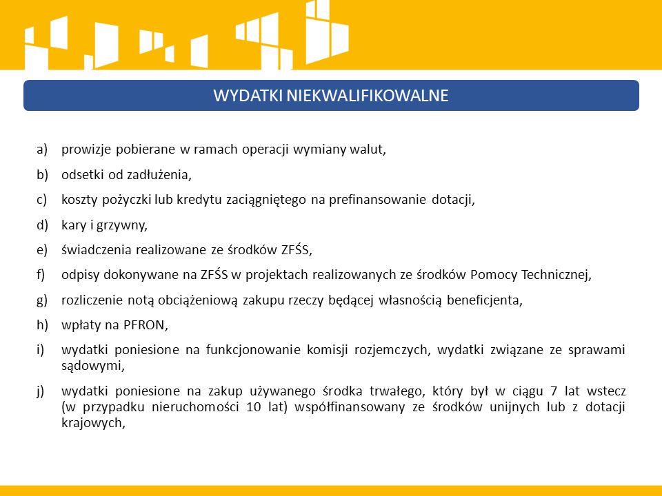 k) podatek VAT, który może zostać odzyskany na podstawie przepisów krajowych, l) wydatki poniesione na zakup nieruchomości przekraczające 10% całkowitych wydatków kwalifikowalnych projektu (w przypadku terenów poprzemysłowych oraz terenów opuszczonych, na których znajdują się budynki, limit wynosi 15%, a w przypadku instrumentów finansowych skierowanych na wspieranie rozwoju obszarów miejskich lub rewitalizację obszarów miejskich, limit wynosi 20%), m) zakup lokali mieszkalnych, za wyjątkiem wydatków dokonanych w ramach celu tematycznego Promowanie włączenia społecznego, walka z ubóstwem i wszelką dyskryminacją, n) inne, niż część kapitałowa raty leasingowej wydatki związane z umową leasingu, o) transakcje dokonane w gotówce, których wartość przekracza równowartość 15 000 euro, p) wydatki związane z wypełnieniem formularza wniosku o dofinansowanie projektu, r) premia dla współautora wniosku o dofinansowanie opracowującego np.