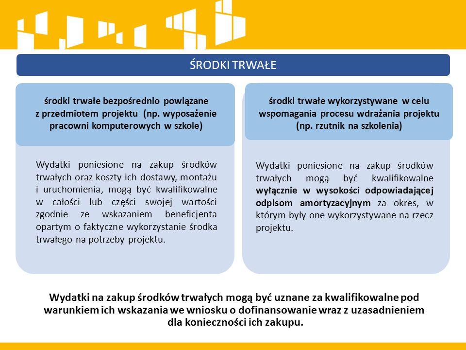 ŚRODKI TRWAŁE W ramach projektów współfinansowanych z EFS wartość wydatków poniesionych na zakup środków trwałych o wartości jednostkowej równej i wyższej niż 350 PLN netto w ramach kosztów bezpośrednich projektu oraz wydatków w ramach cross-financingu nie może łącznie przekroczyć 10% wydatków projektu, chyba że inny limit wskazano dla danego typu projektów w Programie Operacyjnym lub Szczegółowym opisie osi priorytetowych.