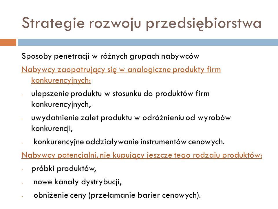 Strategie rozwoju przedsiębiorstwa Sposoby penetracji w różnych grupach nabywców Nabywcy zaopatrujący się w analogiczne produkty firm konkurencyjnych: - ulepszenie produktu w stosunku do produktów firm konkurencyjnych, - uwydatnienie zalet produktu w odróżnieniu od wyrobów konkurencji, - konkurencyjne oddziaływanie instrumentów cenowych.