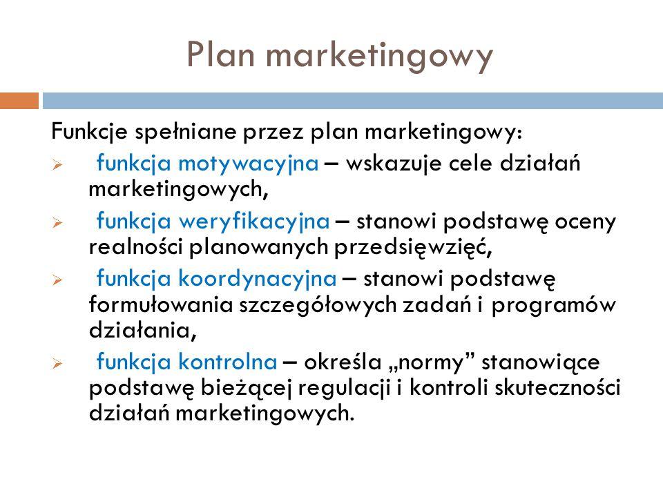 """Plan marketingowy Funkcje spełniane przez plan marketingowy:  funkcja motywacyjna – wskazuje cele działań marketingowych,  funkcja weryfikacyjna – stanowi podstawę oceny realności planowanych przedsięwzięć,  funkcja koordynacyjna – stanowi podstawę formułowania szczegółowych zadań i programów działania,  funkcja kontrolna – określa """"normy stanowiące podstawę bieżącej regulacji i kontroli skuteczności działań marketingowych."""