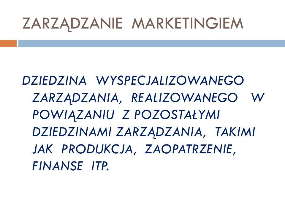 Proces zarządzania 1.Analiza i ocena sytuacji 2. Planowanie marketingu 3.