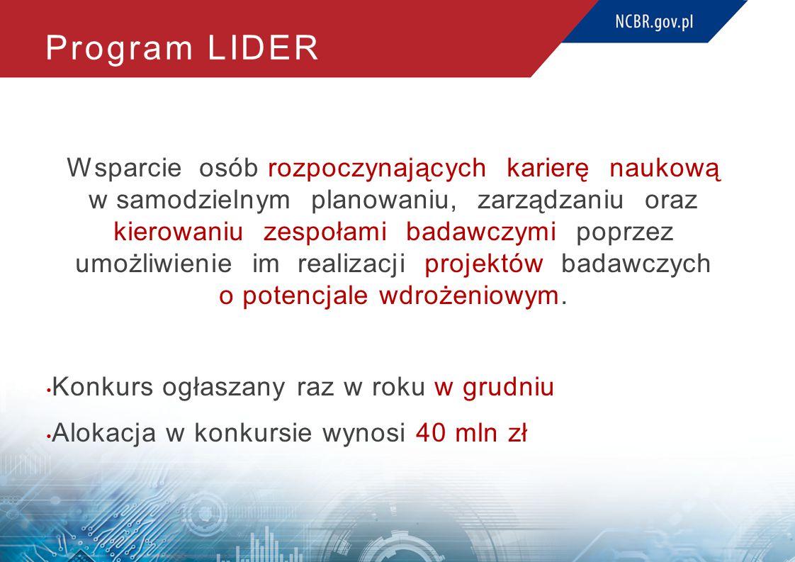Program LIDER Wsparcie osób rozpoczynających karierę naukową w samodzielnym planowaniu, zarządzaniu oraz kierowaniu zespołami badawczymi poprzez umożliwienie im realizacji projektów badawczych o potencjale wdrożeniowym.