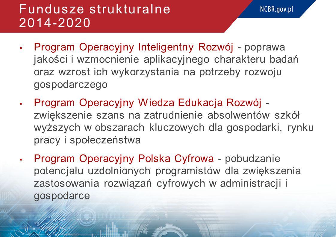 Fundusze strukturalne 2014-2020  Program Operacyjny Inteligentny Rozwój - poprawa jakości i wzmocnienie aplikacyjnego charakteru badań oraz wzrost ich wykorzystania na potrzeby rozwoju gospodarczego  Program Operacyjny Wiedza Edukacja Rozwój - zwiększenie szans na zatrudnienie absolwentów szkół wyższych w obszarach kluczowych dla gospodarki, rynku pracy i społeczeństwa  Program Operacyjny Polska Cyfrowa - pobudzanie potencjału uzdolnionych programistów dla zwiększenia zastosowania rozwiązań cyfrowych w administracji i gospodarce
