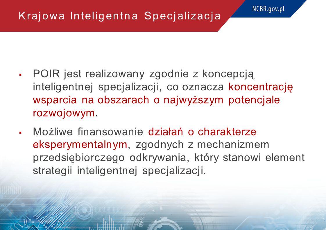 Krajowa Inteligentna Specjalizacja  POIR jest realizowany zgodnie z koncepcją inteligentnej specjalizacji, co oznacza koncentrację wsparcia na obszarach o najwyższym potencjale rozwojowym.