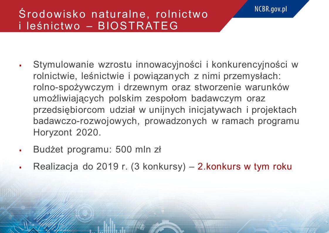 Środowisko naturalne, rolnictwo i leśnictwo – BIOSTRATEG  Stymulowanie wzrostu innowacyjności i konkurencyjności w rolnictwie, leśnictwie i powiązanych z nimi przemysłach: rolno-spożywczym i drzewnym oraz stworzenie warunków umożliwiających polskim zespołom badawczym oraz przedsiębiorcom udział w unijnych inicjatywach i projektach badawczo-rozwojowych, prowadzonych w ramach programu Horyzont 2020.