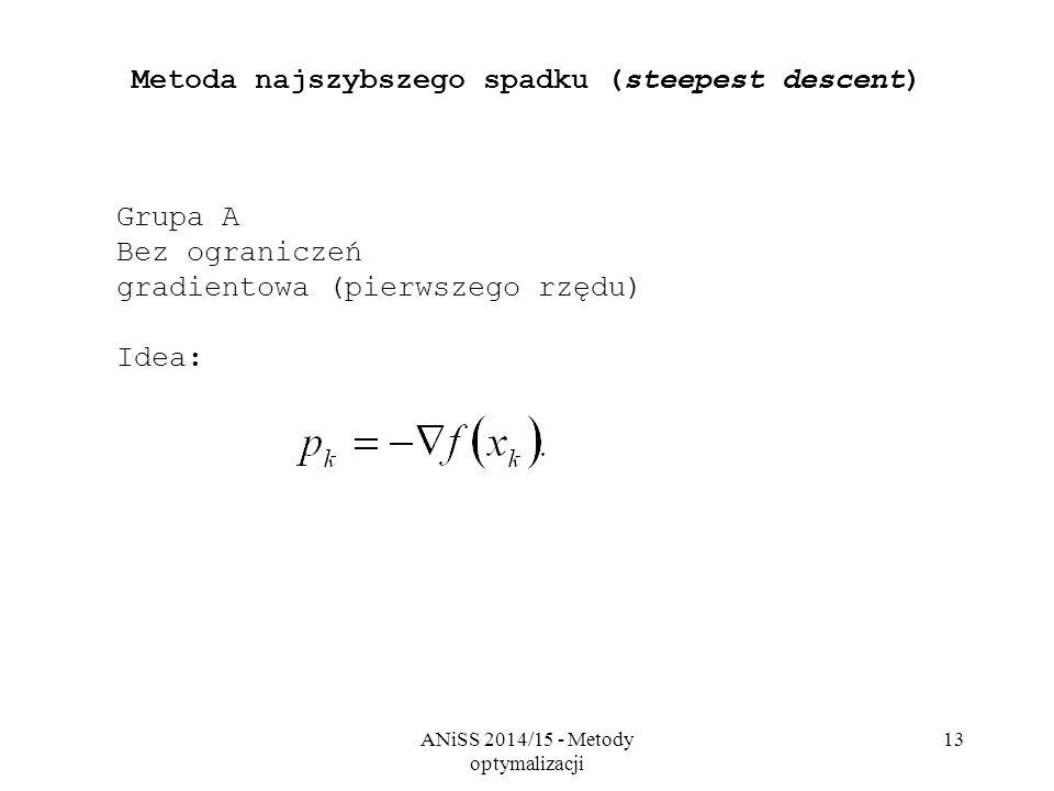 ANiSS 2014/15 - Metody optymalizacji 13 Metoda najszybszego spadku (steepest descent) Grupa A Bez ograniczeń gradientowa (pierwszego rzędu) Idea: