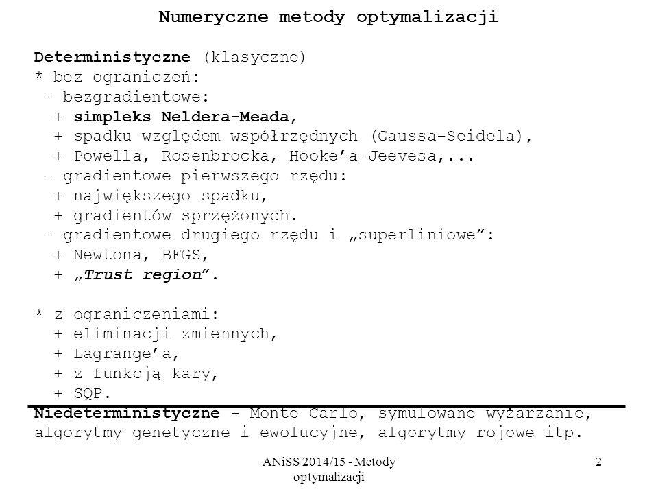 ANiSS 2014/15 - Metody optymalizacji 2 Numeryczne metody optymalizacji Deterministyczne (klasyczne) * bez ograniczeń: - bezgradientowe: + simpleks Nel