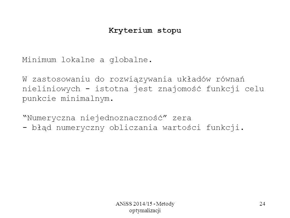 ANiSS 2014/15 - Metody optymalizacji 24 Kryterium stopu Minimum lokalne a globalne. W zastosowaniu do rozwiązywania układów równań nieliniowych - isto