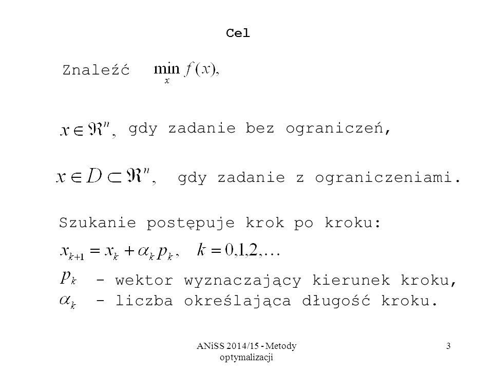 ANiSS 2014/15 - Metody optymalizacji 3 Cel Znaleźć gdy zadanie bez ograniczeń, gdy zadanie z ograniczeniami. Szukanie postępuje krok po kroku: - wekto
