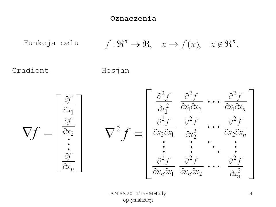 ANiSS 2014/15 - Metody optymalizacji 4 Oznaczenia GradientHesjan Funkcja celu