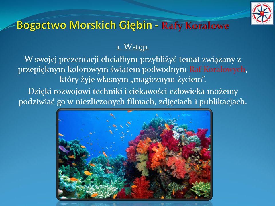 """1. Wstęp. W swojej prezentacji chciałbym przybliżyć temat związany z przepięknym kolorowym światem podwodnym Raf Koralowych, który żyje własnym """"magic"""