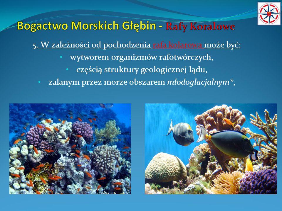 5. W zależności od pochodzenia rafa kolarowa może być: wytworem organizmów rafotwórczych, częścią struktury geologicznej lądu, zalanym przez morze obs