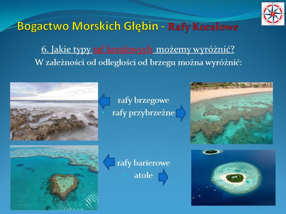 6. Jakie typy raf koralowych możemy wyróżnić? W zależności od odległości od brzegu można wyróżnić: rafy brzegowe rafy przybrzeżne rafy barierowe atole